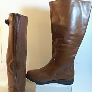 Journee Collection Leather Knee-High Boots Size: 9